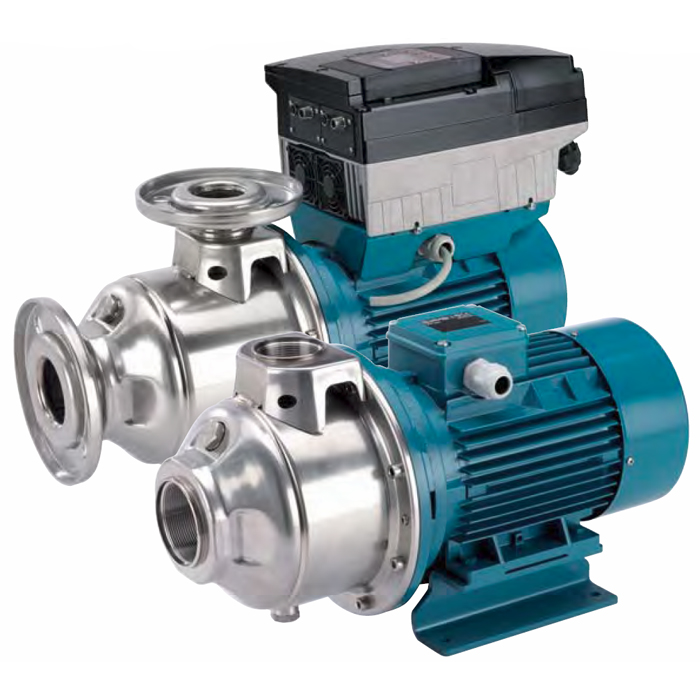 multi-stage close coupled pumps in chrome-nickel stainless steel